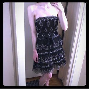 BCBG MaxAzria strapless tiered eyelet lace dress